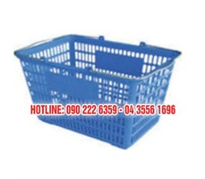 Giỏ xách siêu thị nhựa, quai inox