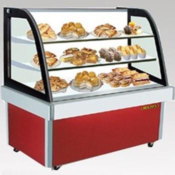 Tủ trưng bày bánh nóng kính cong đỏ