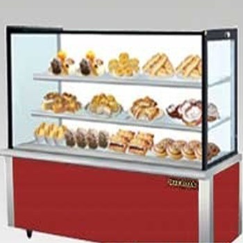 Tủ trưng bày bánh nóng kính vuông đỏ